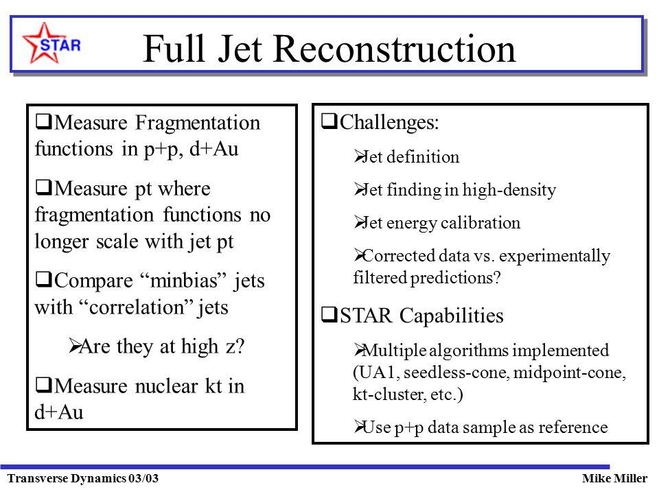 Transverse Dynamics 03/03Mike Miller Full Jet Reconstruction  Measure Fragmentation functions in p+p, d+Au  Measure pt where fragmentation functions