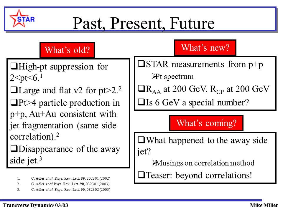 Transverse Dynamics 03/03Mike Miller Past, Present, Future  High-pt suppression for 2<pt<6.