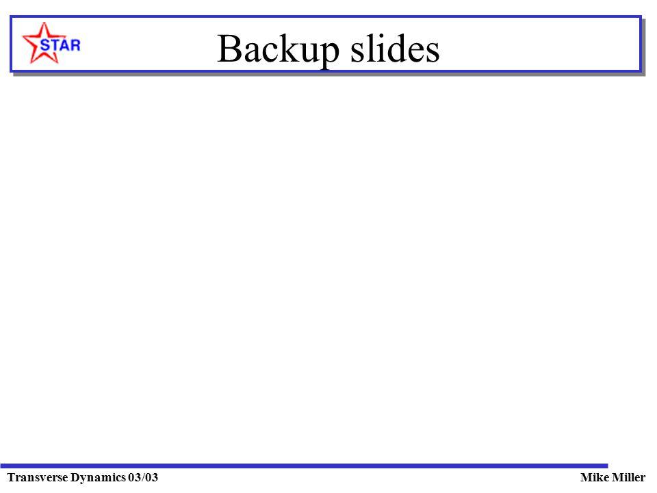 Transverse Dynamics 03/03Mike Miller Backup slides