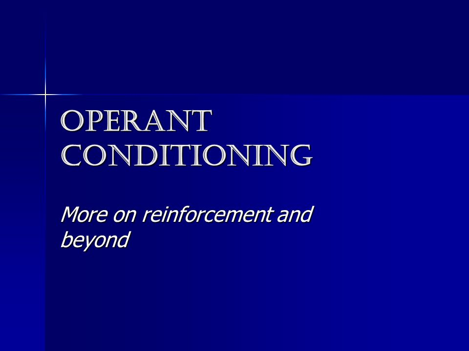 Operant conditioning More on reinforcement and beyond