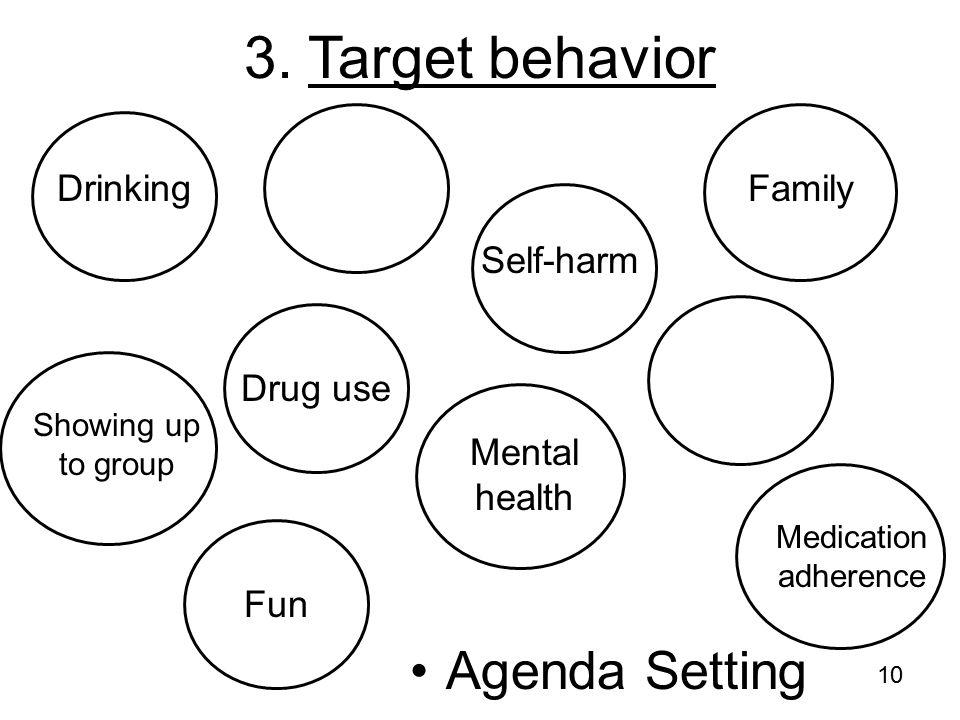 10 3. Target behavior Drinking Drug use Mental health Family Showing up to group Medication adherence Self-harm Agenda Setting Fun