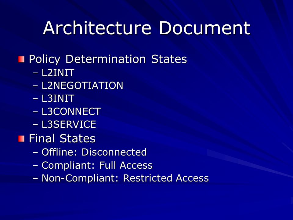Architecture Document Policy Determination States –L2INIT –L2NEGOTIATION –L3INIT –L3CONNECT –L3SERVICE Final States –Offline: Disconnected –Compliant: Full Access –Non-Compliant: Restricted Access
