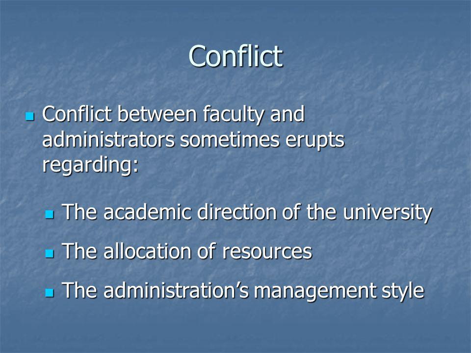 Conflict Conflict between faculty and administrators sometimes erupts regarding: Conflict between faculty and administrators sometimes erupts regardin