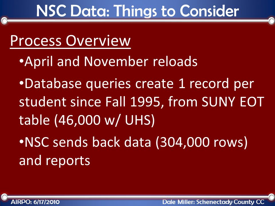 Process Overview April and November reloads Database queries create 1 record per student since Fall 1995, from SUNY EOT table (46,000 w/ UHS) NSC send