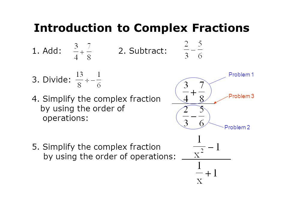 Introduction to Complex Fractions 1.Add: 2. Subtract: 3.Divide: 4.Simplify the complex fraction by using the order of operations: 5.Simplify the compl