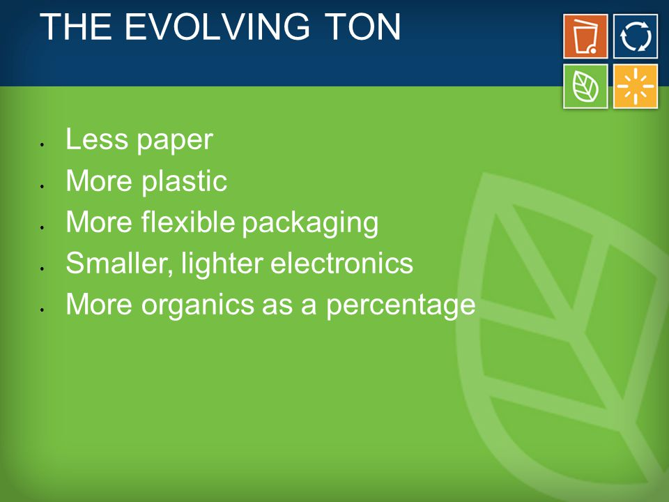 THE EVOLVING TON Less paper More plastic More flexible packaging Smaller, lighter electronics More organics as a percentage