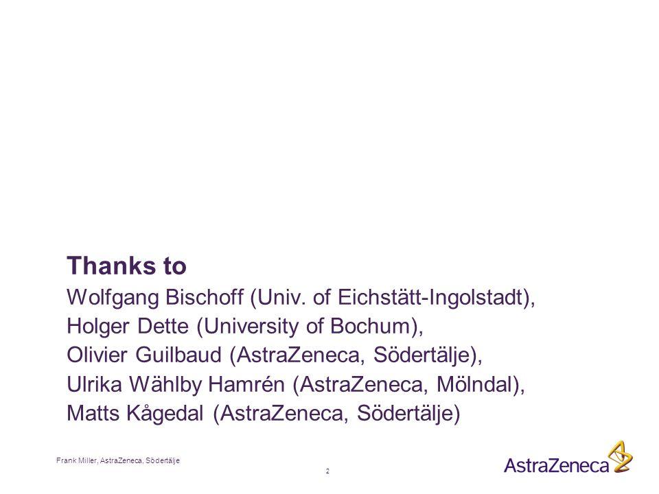 2 Frank Miller, AstraZeneca, Södertälje Thanks to Wolfgang Bischoff (Univ.