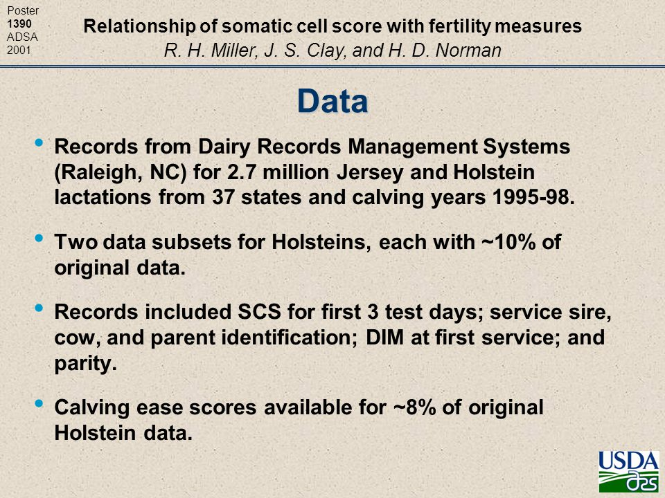 Relationship of somatic cell score with fertility measures R. H. Miller, J. S. Clay, and H. D. Norman Poster 1390 ADSA 2001Data Records from Dairy Rec