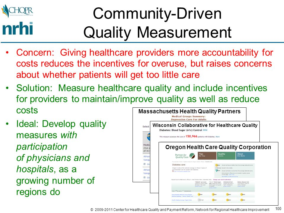 100 © 2009-2011 Center for Healthcare Quality and Payment Reform, Network for Regional Healthcare Improvement Community-Driven Quality Measurement Concern: Giving healthcare providers more accountability for costs reduces the incentives for overuse, but raises concerns about whether patients will get too little care Solution: Measure healthcare quality and include incentives for providers to maintain/improve quality as well as reduce costs Ideal: Develop quality measures with participation of physicians and hospitals, as a growing number of regions do Massachusetts Health Quality Partners Wisconsin Collaborative for Healthcare Quality Oregon Health Care Quality Corporation