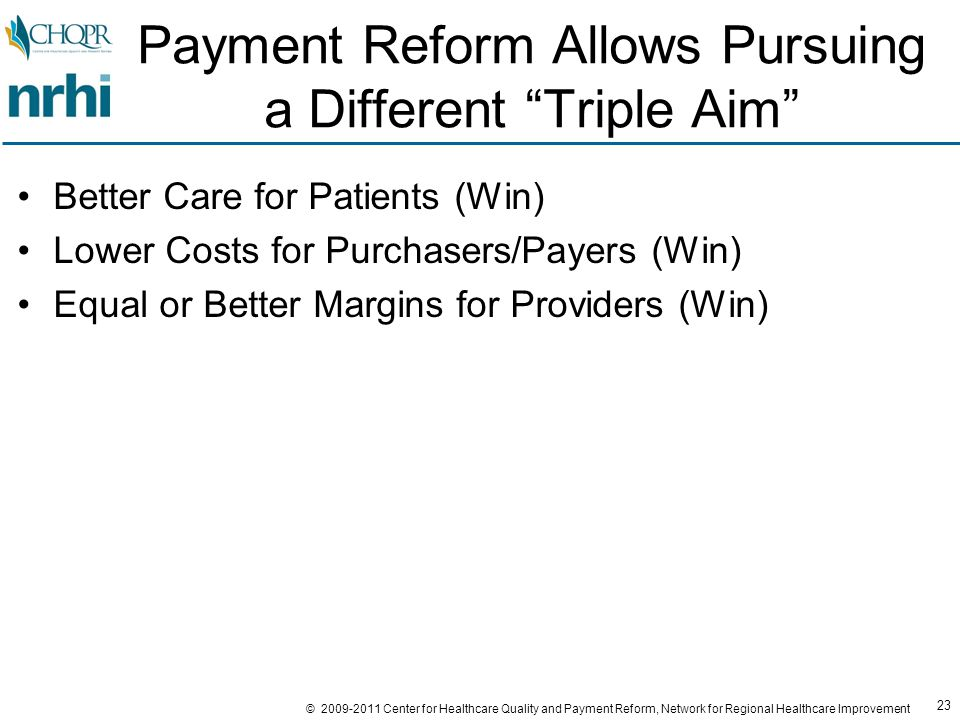 23 © 2009-2011 Center for Healthcare Quality and Payment Reform, Network for Regional Healthcare Improvement Payment Reform Allows Pursuing a Different Triple Aim Better Care for Patients (Win) Lower Costs for Purchasers/Payers (Win) Equal or Better Margins for Providers (Win)
