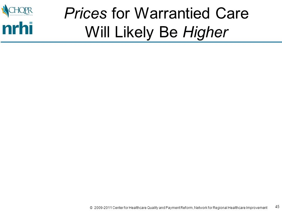 45 © 2009-2011 Center for Healthcare Quality and Payment Reform, Network for Regional Healthcare Improvement Prices for Warrantied Care Will Likely Be Higher
