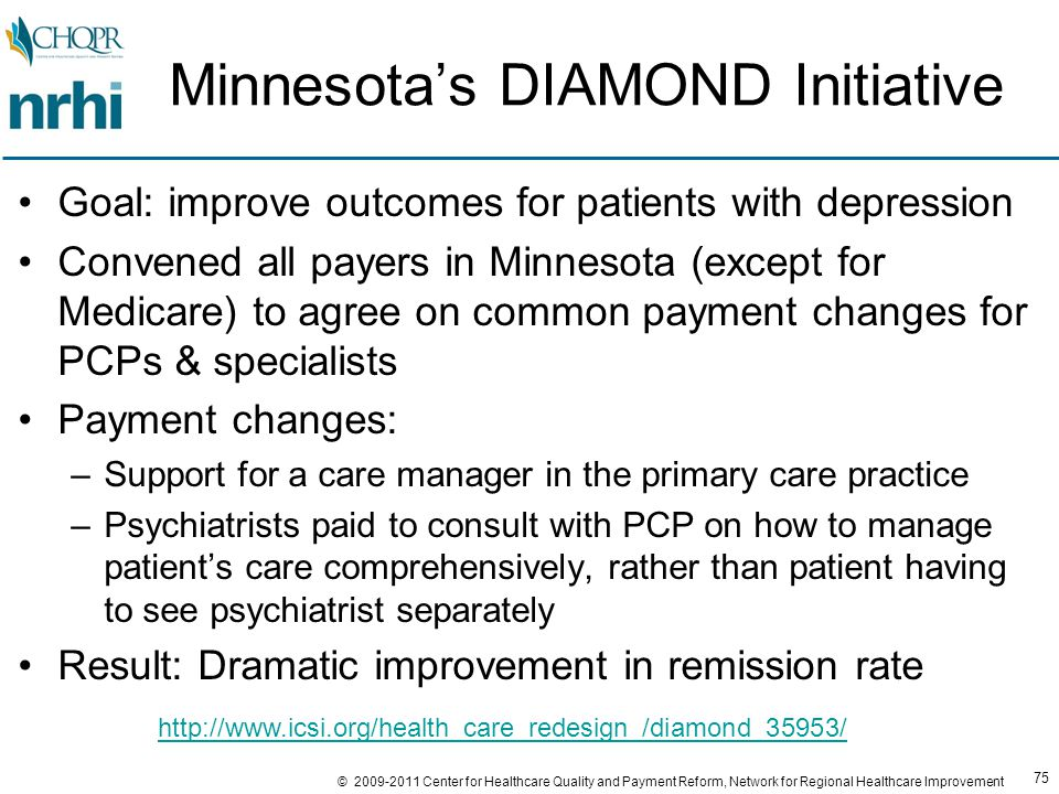 75 © 2009-2011 Center for Healthcare Quality and Payment Reform, Network for Regional Healthcare Improvement Minnesota's DIAMOND Initiative Goal: improve outcomes for patients with depression Convened all payers in Minnesota (except for Medicare) to agree on common payment changes for PCPs & specialists Payment changes: –Support for a care manager in the primary care practice –Psychiatrists paid to consult with PCP on how to manage patient's care comprehensively, rather than patient having to see psychiatrist separately Result: Dramatic improvement in remission rate http://www.icsi.org/health_care_redesign_/diamond_35953/