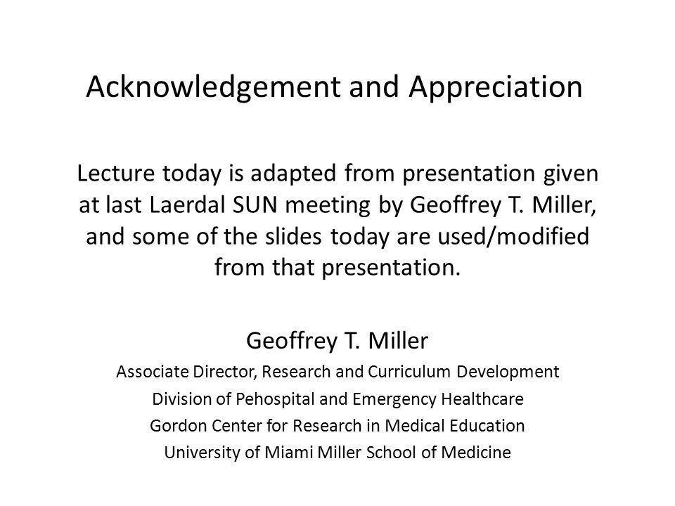 Assessment of Shows PerformanceAssessment Does Shows Knows How Knows Miller GE.