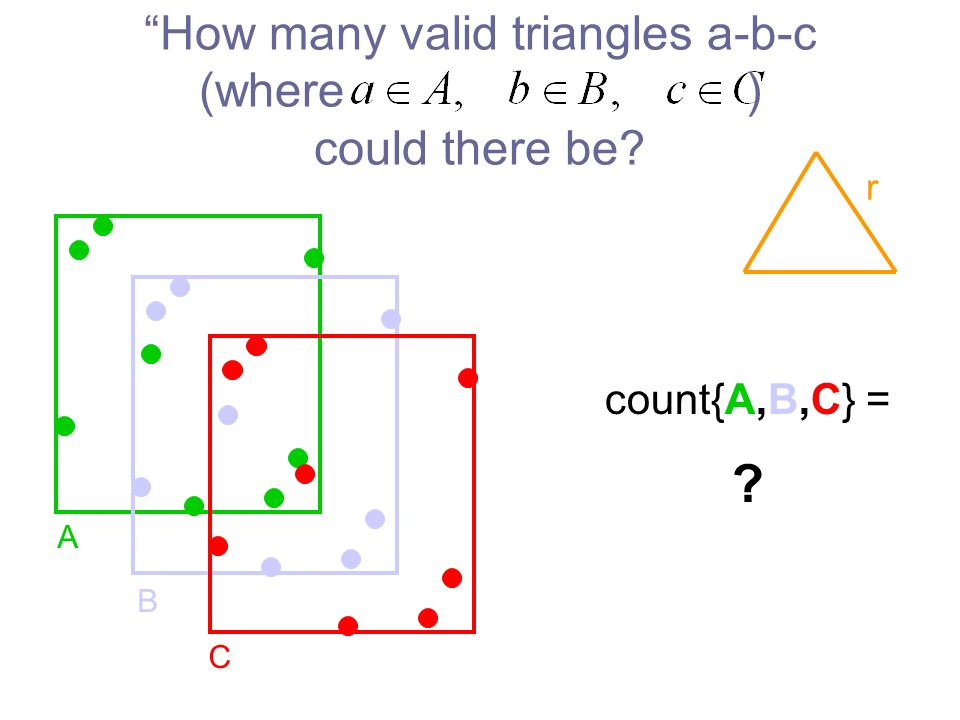 How many valid triangles a-b-c (where ) could there be A B C r count{A,B,C} =