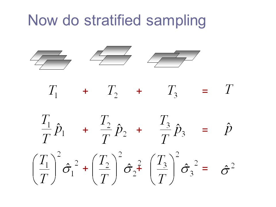+ + = + + = Now do stratified sampling