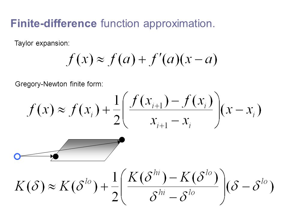 Finite-difference function approximation. Taylor expansion: Gregory-Newton finite form: