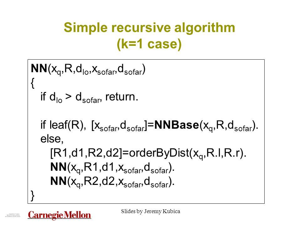 Slides by Jeremy Kubica Simple recursive algorithm (k=1 case) NN(x q,R,d lo,x sofar,d sofar ) { if d lo > d sofar, return.