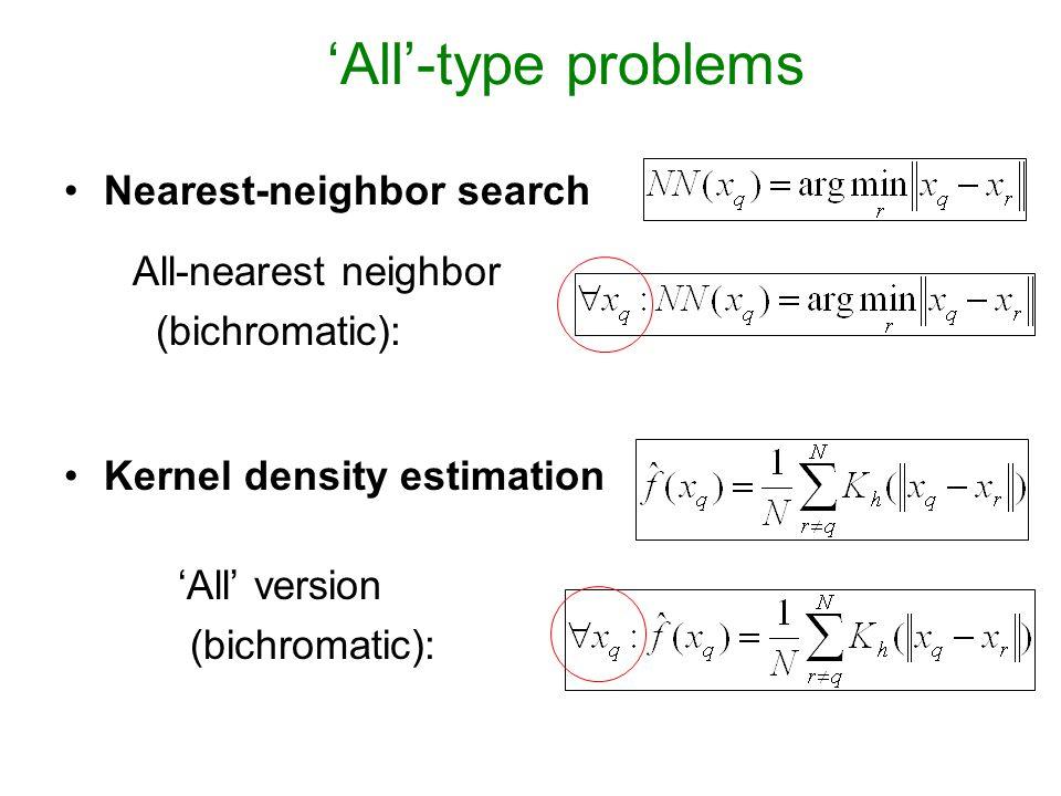 'All'-type problems Nearest-neighbor search All-nearest neighbor (bichromatic): Kernel density estimation 'All' version (bichromatic):