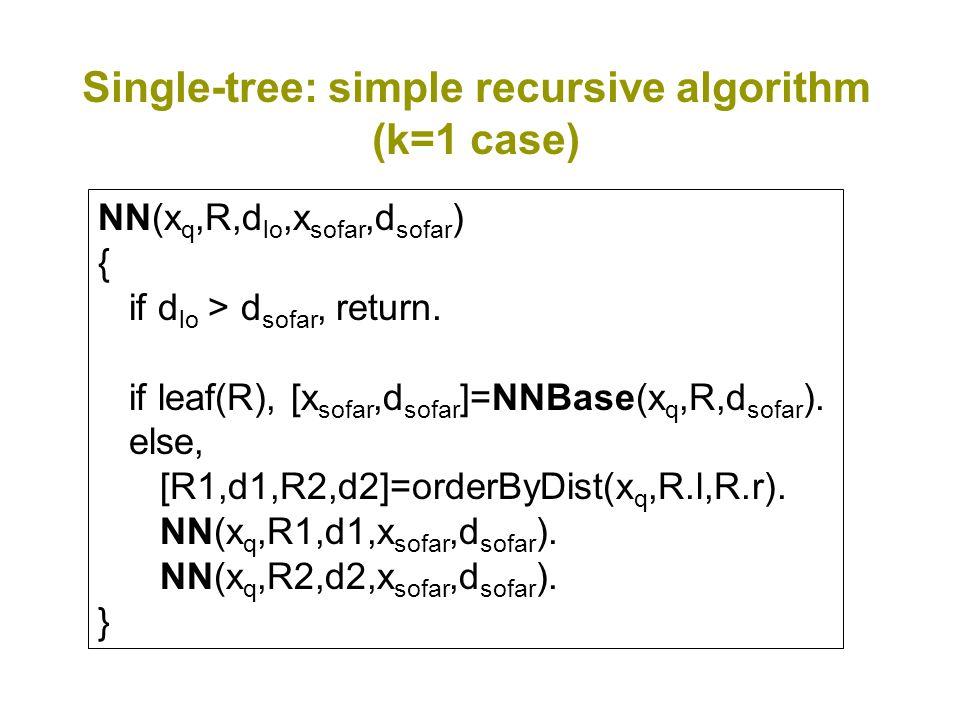 Single-tree: simple recursive algorithm (k=1 case) NN(x q,R,d lo,x sofar,d sofar ) { if d lo > d sofar, return.