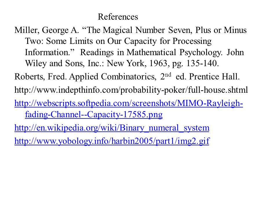 References Miller, George A.