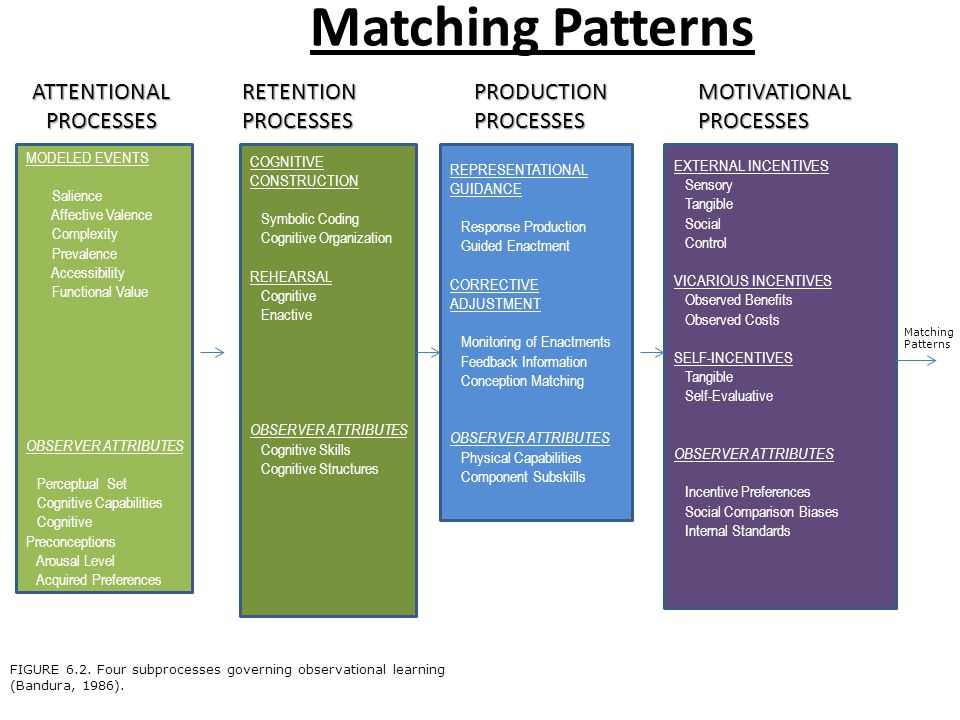 Matching Patterns ATTENTIONAL PROCESSES RETENTION PROCESSES PRODUCTION PROCESSES MOTIVATIONAL PROCESSES MODELED EVENTS Salience Affective Valence Complexity Prevalence Accessibility Functional Value OBSERVER ATTRIBUTES Perceptual Set Cognitive Capabilities Cognitive Preconceptions Arousal Level Acquired Preferences COGNITIVE CONSTRUCTION Symbolic Coding Cognitive Organization REHEARSAL Cognitive Enactive OBSERVER ATTRIBUTES Cognitive Skills Cognitive Structures REPRESENTATIONAL GUIDANCE Response Production Guided Enactment CORRECTIVE ADJUSTMENT Monitoring of Enactments Feedback Information Conception Matching OBSERVER ATTRIBUTES Physical Capabilities Component Subskills EXTERNAL INCENTIVES Sensory Tangible Social Control VICARIOUS INCENTIVES Observed Benefits Observed Costs SELF-INCENTIVES Tangible Self-Evaluative OBSERVER ATTRIBUTES Incentive Preferences Social Comparison Biases Internal Standards FIGURE 6.2.
