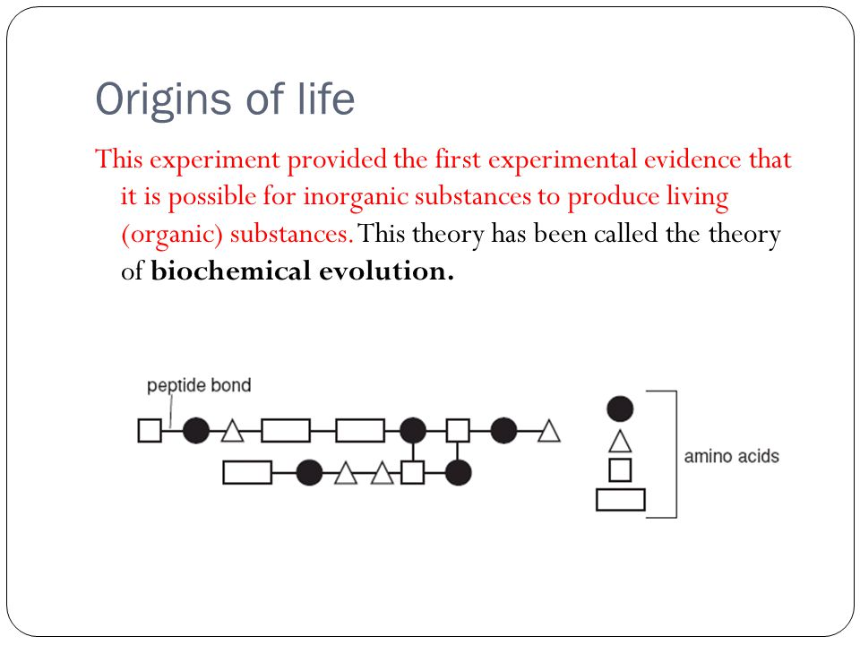 Origins of life The experiments have been replicated successfully to provide a similar outcome each time.