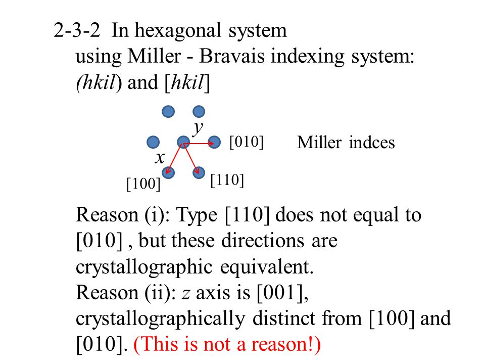 2-3-2 In hexagonal system using Miller - Bravais indexing system: (hkil) and [hkil] [100] [010] x y [110] Reason (i): Type [110] does not equal to [01