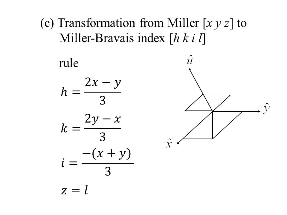 (c) Transformation from Miller [x y z] to Miller-Bravais index [h k i l] rule
