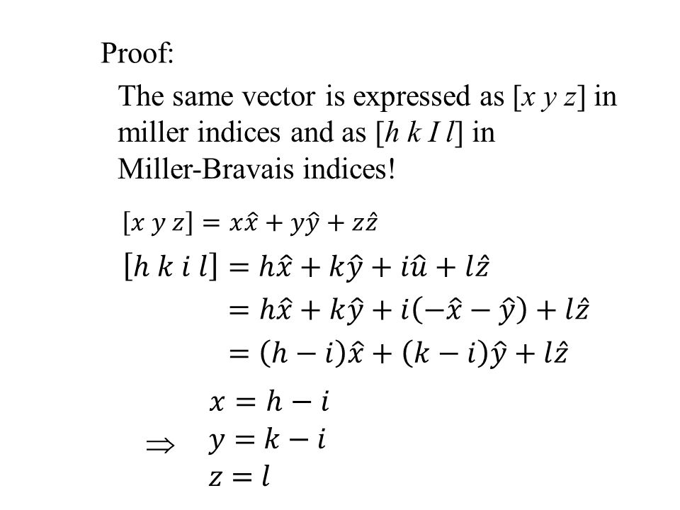 The same vector is expressed as [x y z] in miller indices and as [h k I l] in Miller-Bravais indices! Proof: 