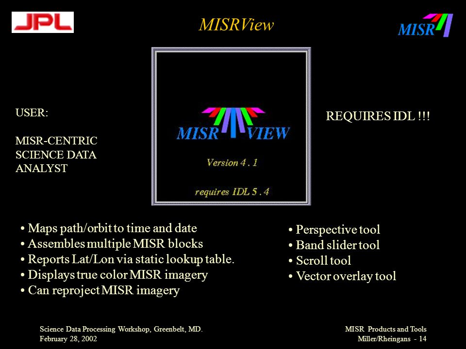 Science Data Processing Workshop, Greenbelt, MD. February 28, 2002 MISR Products and Tools Miller/Rheingans - 14 MISRView Maps path/orbit to time and