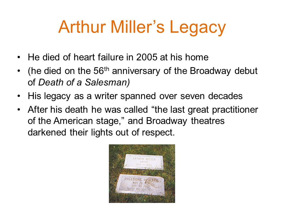 Arthur Miller's Legacy He died of heart failure in 2005 at his home (he died on the 56 th anniversary of the Broadway debut of Death of a Salesman) His legacy as a writer spanned over seven decades After his death he was called the last great practitioner of the American stage, and Broadway theatres darkened their lights out of respect.