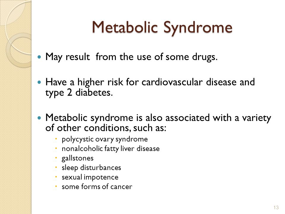 Metabolic Syndrome May result from the use of some drugs.
