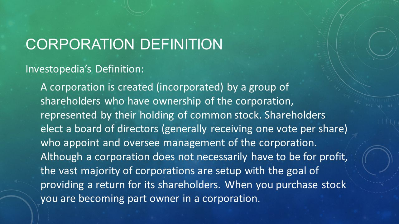 WORKS SITED Corporation. Investopedia Dicitonary.