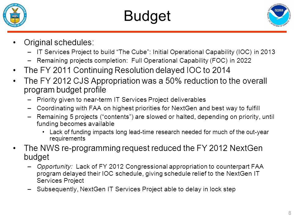 Budget Original schedules: –IT Services Project to build The Cube : Initial Operational Capability (IOC) in 2013 –Remaining projects completion: Full Operational Capability (FOC) in 2022 The FY 2011 Continuing Resolution delayed IOC to 2014 The FY 2012 CJS Appropriation was a 50% reduction to the overall program budget profile –Priority given to near-term IT Services Project deliverables –Coordinating with FAA on highest priorities for NextGen and best way to fulfill –Remaining 5 projects ( contents ) are slowed or halted, depending on priority, until funding becomes available Lack of funding impacts long lead-time research needed for much of the out-year requirements The NWS re-programming request reduced the FY 2012 NextGen budget –Opportunity: Lack of FY 2012 Congressional appropriation to counterpart FAA program delayed their IOC schedule, giving schedule relief to the NextGen IT Services Project –Subsequently, NextGen IT Services Project able to delay in lock step 8