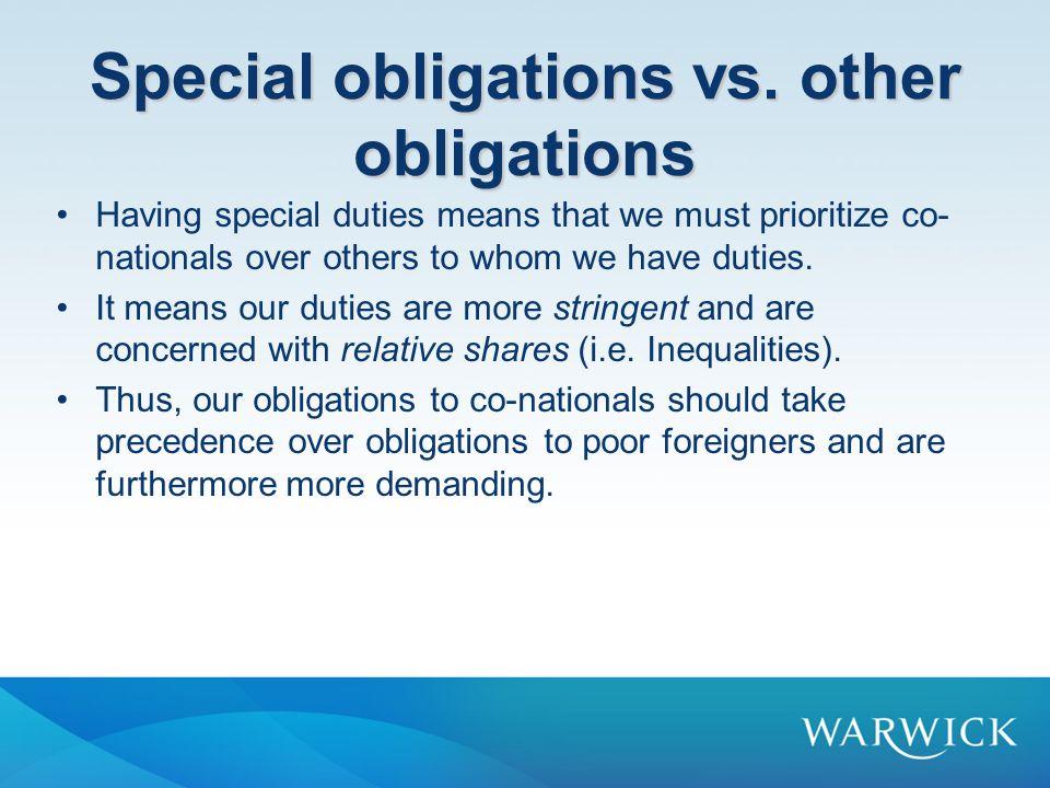 Special obligations vs.