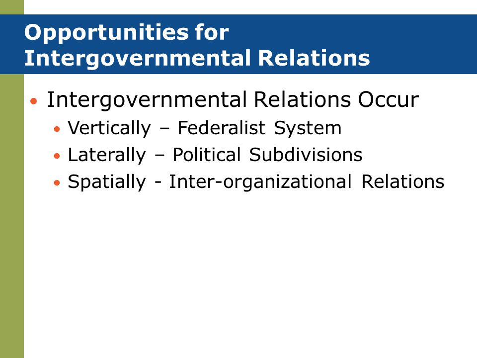 Opportunities for Intergovernmental Relations Intergovernmental Relations Occur Vertically – Federalist System Laterally – Political Subdivisions Spat