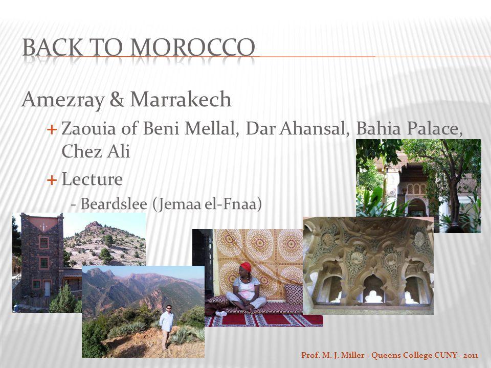 Amezray & Marrakech  Zaouia of Beni Mellal, Dar Ahansal, Bahia Palace, Chez Ali  Lecture - Beardslee (Jemaa el-Fnaa) Prof.