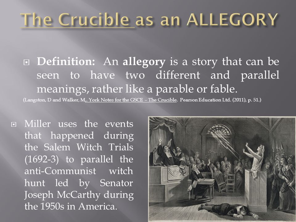  Definition: An allegory is a story that can be seen to have two different and parallel meanings, rather like a parable or fable.