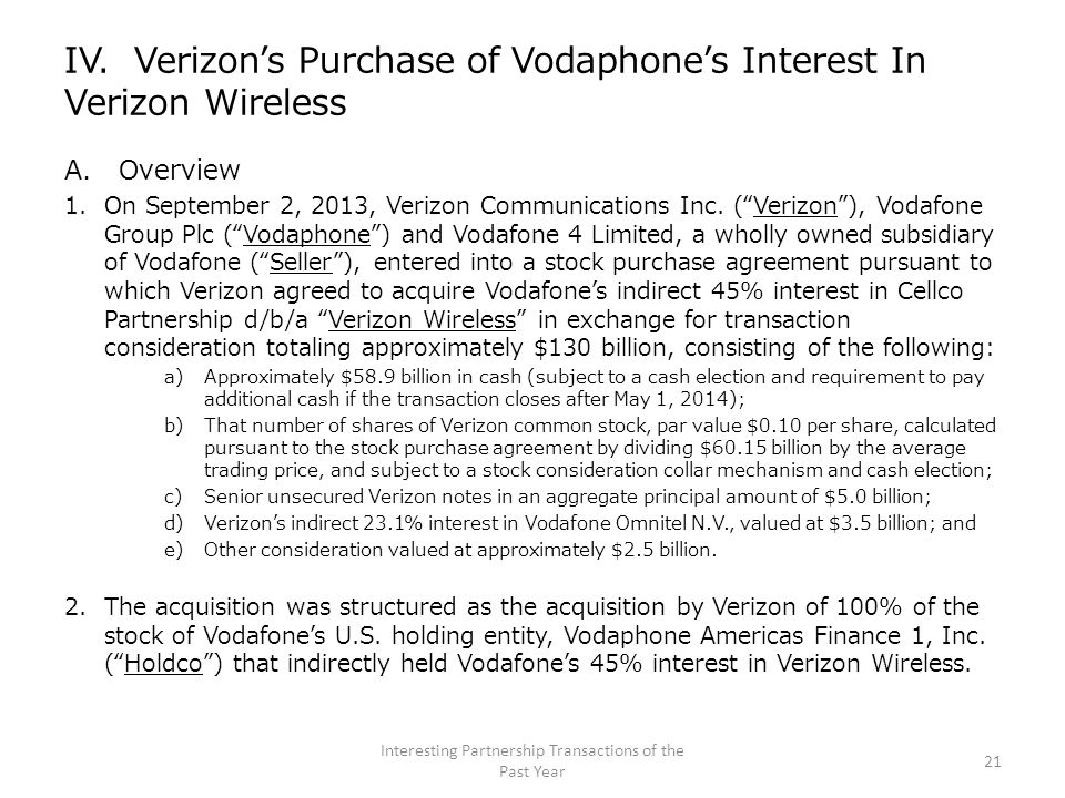 "IV. Verizon's Purchase of Vodaphone's Interest In Verizon Wireless A. Overview 1.On September 2, 2013, Verizon Communications Inc. (""Verizon""), Vodafo"
