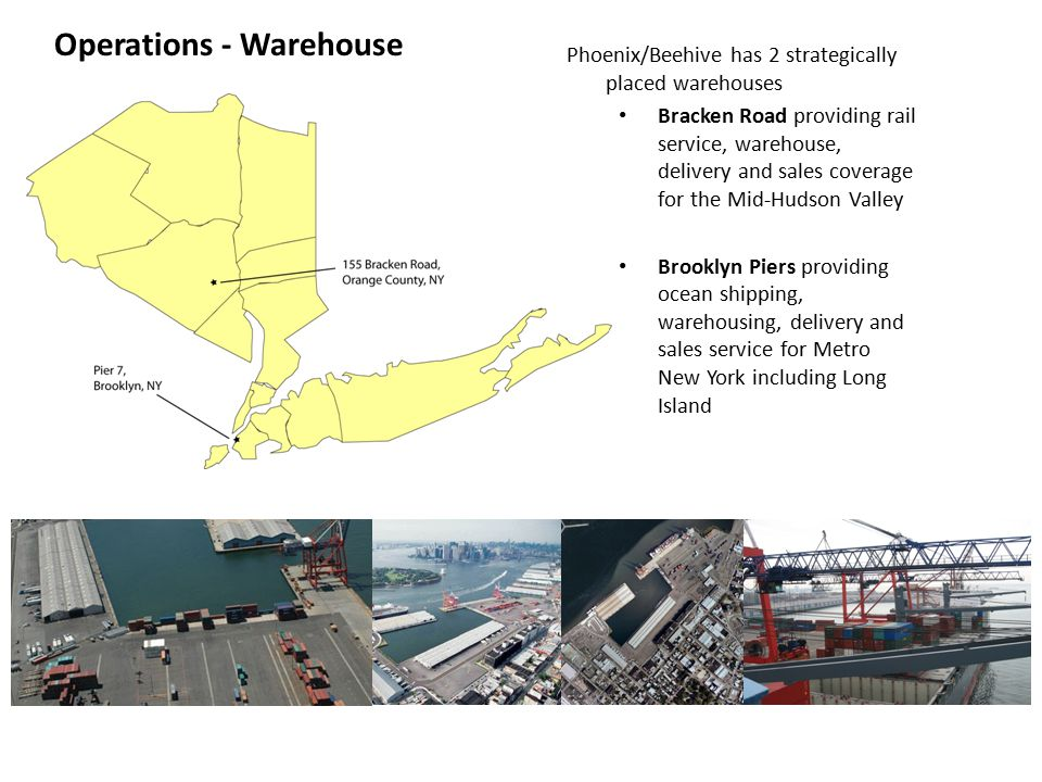 Operations - Warehouse Phoenix/Beehive has 2 strategically placed warehouses Bracken Road providing rail service, warehouse, delivery and sales coverage for the Mid-Hudson Valley Brooklyn Piers providing ocean shipping, warehousing, delivery and sales service for Metro New York including Long Island
