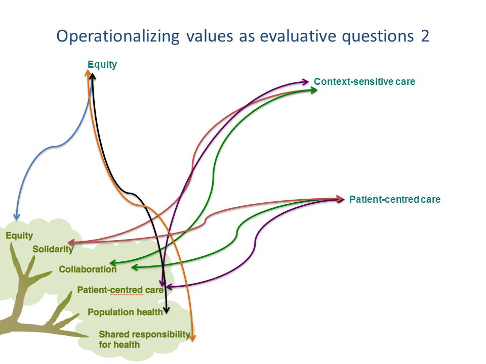 Equity Context-sensitive care Patient-centred care Operationalizing values as evaluative questions 2