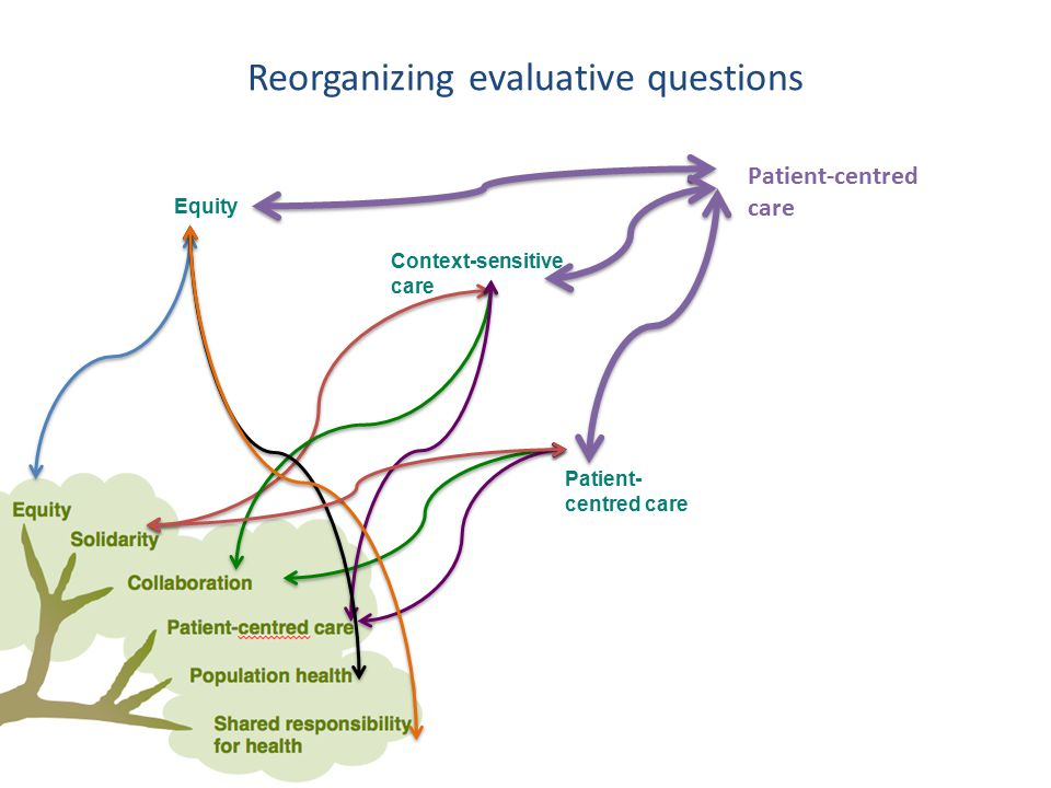 Equity Context-sensitive care Patient- centred care Reorganizing evaluative questions Patient-centred care