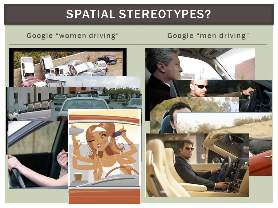 SPATIAL STEREOTYPES? Google women driving Google men driving