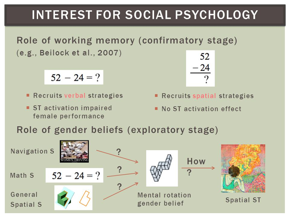 INTEREST FOR SOCIAL PSYCHOLOGY Role of working memory (confirmatory stage) (e.g., Beilock et al., 2007) Role of gender beliefs (exploratory stage)  Recruits verbal strategies  Recruits spatial strategies  ST activation impaired female performance  No ST activation effect Navigation S Math S General Spatial S Mental rotation gender belief Spatial ST How .