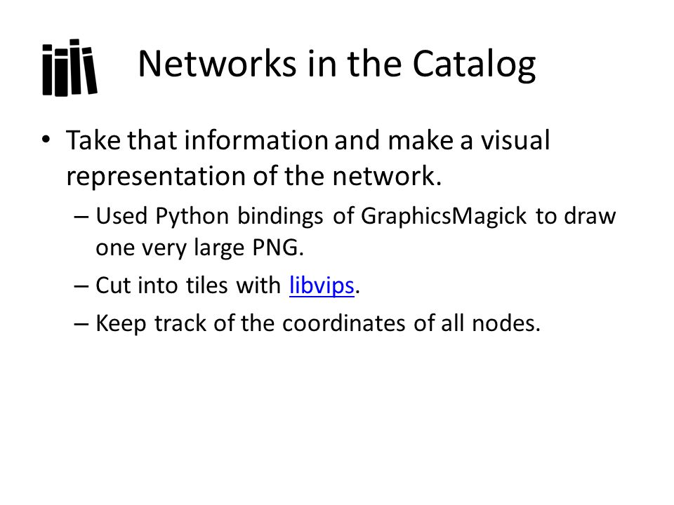 Networks in the Catalog Take that information and make a visual representation of the network.