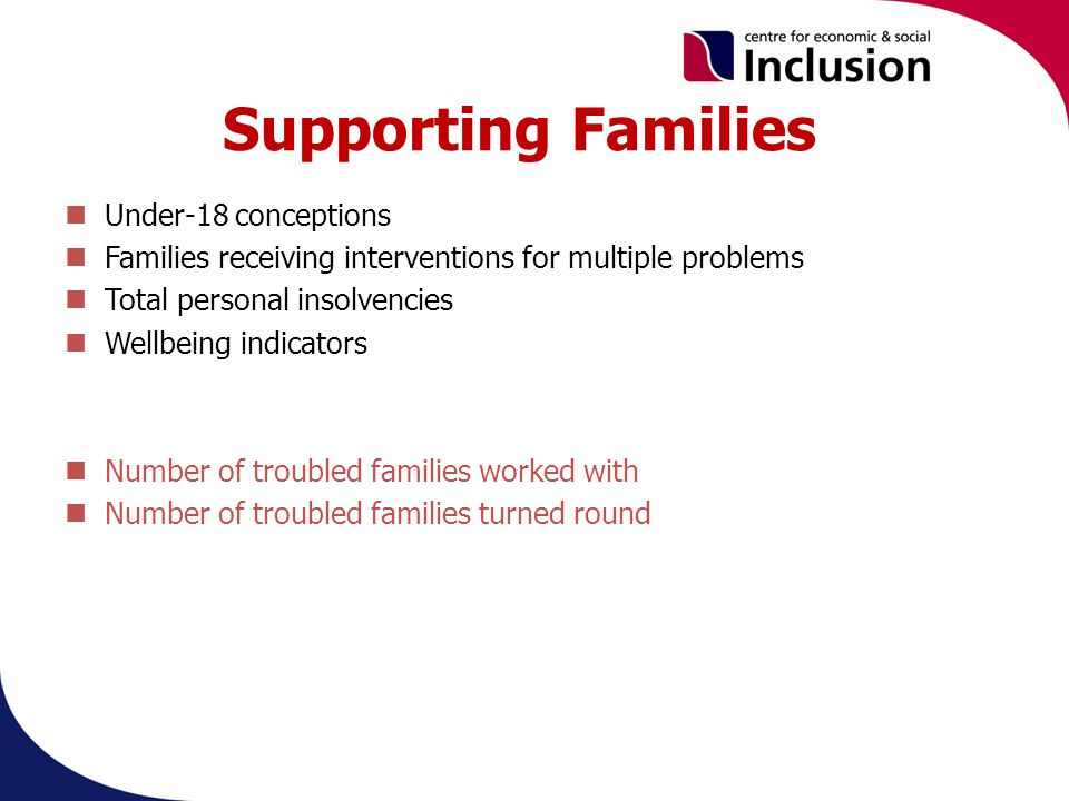 Supporting Families Under-18 conceptions Families receiving interventions for multiple problems Total personal insolvencies Wellbeing indicators Number of troubled families worked with Number of troubled families turned round