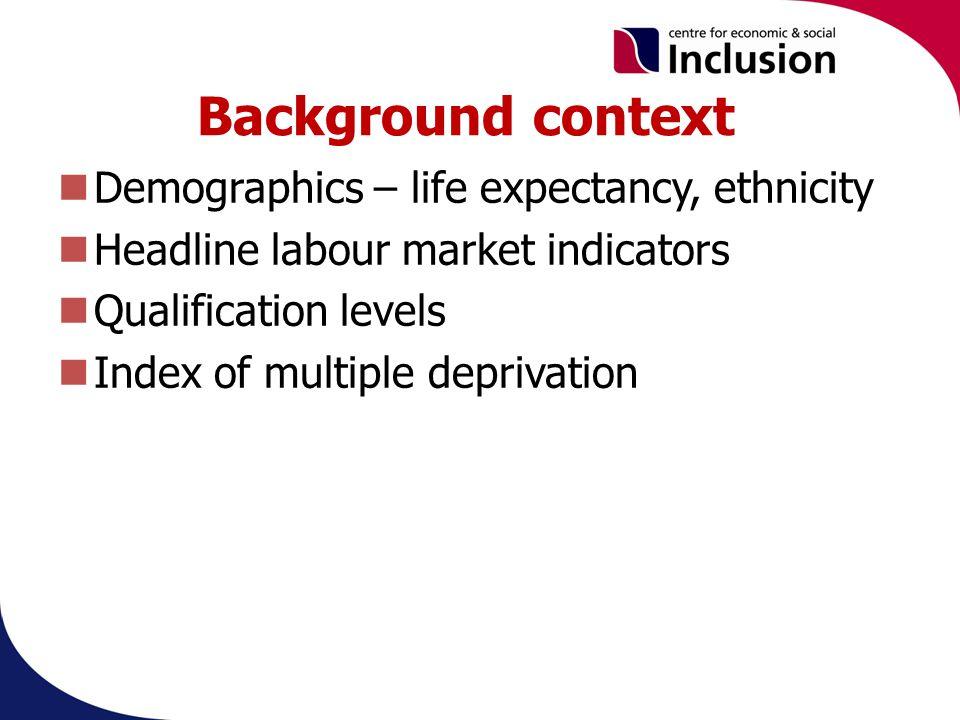 Background context Demographics – life expectancy, ethnicity Headline labour market indicators Qualification levels Index of multiple deprivation