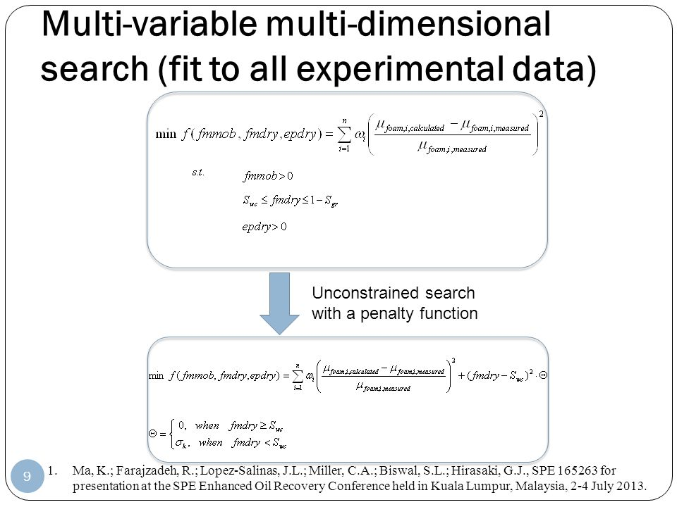 Multi-variable multi-dimensional search (fit to all experimental data) 9 1.Ma, K.; Farajzadeh, R.; Lopez-Salinas, J.L.; Miller, C.A.; Biswal, S.L.; Hi