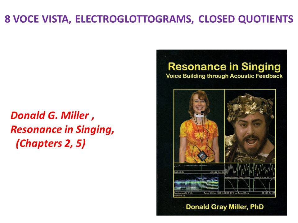 8 VOCE VISTA, ELECTROGLOTTOGRAMS, CLOSED QUOTIENTS Donald G. Miller, Resonance in Singing, (Chapters 2, 5)