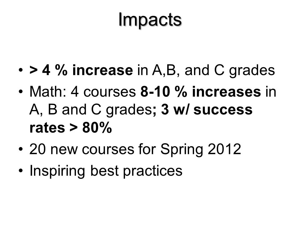 Impacts > 4 % increase in A,B, and C grades Math: 4 courses 8-10 % increases in A, B and C grades; 3 w/ success rates > 80% 20 new courses for Spring 2012 Inspiring best practices